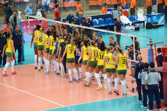 Volleyball WGP : Brazil VS USA. Brazil VS USA check hand at Volleyball world grand prix 2014, PRELIMINARY ROUND Pools Composition - POOL A-I (August 1-24, 2014 Royalty Free Stock Images