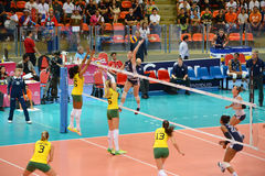 Volleyball WGP : Brazil VS USA. Fighting Time at Volleyball world grand prix 2014, PRELIMINARY ROUND Pools Composition - POOL A-I (August 1-24, 2014 Stock Image