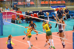 Volleyball WGP : Brazil VS USA. Fighting Time at Volleyball world grand prix 2014, PRELIMINARY ROUND Pools Composition - POOL A-I (August 1-24, 2014 Royalty Free Stock Images