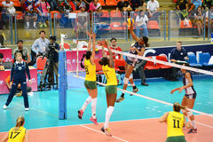 Volleyball WGP : Brazil VS USA. Fighting Time at Volleyball world grand prix 2014, PRELIMINARY ROUND Pools Composition - POOL A-I (August 1-24, 2014 Stock Photos