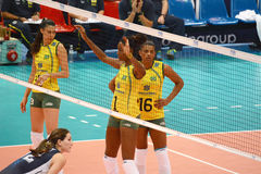 Volleyball WGP : Brazil VS USA. Fighting Time at Volleyball world grand prix 2014, PRELIMINARY ROUND Pools Composition - POOL A-I (August 1-24, 2014 Royalty Free Stock Photos