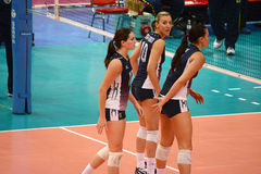 Volleyball WGP : Brazil VS USA. Hand signal, USA Team at Volleyball world grand prix 2014, PRELIMINARY ROUND Pools Composition - POOL A-I (August 1-24, 2014 Stock Image