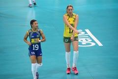 Volleyball WGP : Brazil VS USA. Josefa Fabiola Almeida De Sousa Alves and Léia Silva, brazil team at Volleyball world grand prix 2014, PRELIMINARY ROUND Pools Stock Images