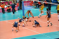 Volleyball WGP : Brazil VS USA. Missing the ball, USA Team at Volleyball world grand prix 2014, PRELIMINARY ROUND Pools Composition - POOL A-I (August 1-24, 2014 Stock Photo