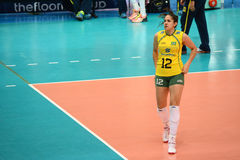 Volleyball WGP : Brazil VS USA. Natalia Pereira, Brazil team at Volleyball world grand prix 2014, PRELIMINARY ROUND Pools Composition - POOL A-I (August 1-24 Royalty Free Stock Photos