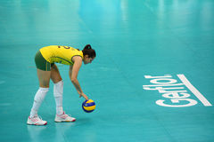 Volleyball WGP : Brazil VS USA. Natalia Pereira, Brazil team at Volleyball world grand prix 2014, PRELIMINARY ROUND Pools Composition - POOL A-I (August 1-24 Stock Photography
