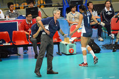 Volleyball WGP : Brazil VS USA. USA player and coach at Volleyball world grand prix 2014, PRELIMINARY ROUND Pools Composition - POOL A-I (August 1-24, 2014 Stock Photography