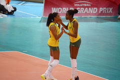 Volleyball WGP : Brazil VS USA. Brazil player at Volleyball world grand prix 2014, PRELIMINARY ROUND Pools Composition - POOL A-I (August 1-24, 2014 Royalty Free Stock Photos