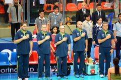 Volleyball WGP : Brazil VS USA. Respect time, Brazil coach team at Volleyball world grand prix 2014, PRELIMINARY ROUND Pools Composition - POOL A-I (August 1-24 Stock Photography