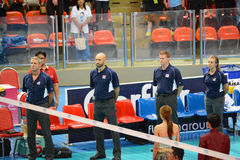 Volleyball WGP : Brazil VS USA. Respect time, USA coach team at Volleyball world grand prix 2014, PRELIMINARY ROUND Pools Composition - POOL A-I (August 1-24 Stock Photos