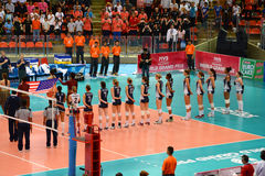 Volleyball WGP : Brazil VS USA. Respect time, USA team at Volleyball world grand prix 2014, PRELIMINARY ROUND Pools Composition - POOL A-I (August 1-24, 2014 Royalty Free Stock Image