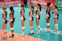 Volleyball WGP : Brazil VS USA. Respect time, USA team at Volleyball world grand prix 2014, PRELIMINARY ROUND Pools Composition - POOL A-I (August 1-24, 2014 Stock Photos