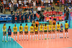 Volleyball WGP : Brazil VS USA. Respect time, Brazil team at Volleyball world grand prix 2014, PRELIMINARY ROUND Pools Composition - POOL A-I (August 1-24, 2014 Stock Photo