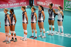 Volleyball WGP : Brazil VS USA. Respect time, USA team at Volleyball world grand prix 2014, PRELIMINARY ROUND Pools Composition - POOL A-I (August 1-24, 2014 Royalty Free Stock Images