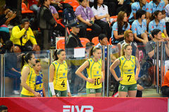 Volleyball WGP : Brazil VS USA. Substitutes player, Brazil team at Volleyball world grand prix 2014, PRELIMINARY ROUND Pools Composition - POOL A-I (August 1-24 Royalty Free Stock Photo