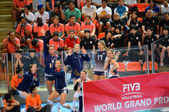 Volleyball WGP : Brazil VS USA. Substitutes player, USA team at Volleyball world grand prix 2014, PRELIMINARY ROUND Pools Composition - POOL A-I (August 1-24 Royalty Free Stock Photo
