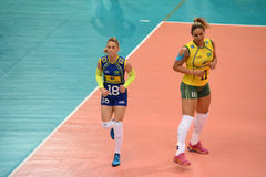 Volleyball WGP : Brazil VS USA. Tandara Caixeta and Camila Brait, Brazil team at Volleyball world grand prix 2014, PRELIMINARY ROUND Pools Composition - POOL A-I Stock Photography