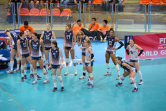 Volleyball WGP : Brazil VS USA. USA team at Volleyball world grand prix 2014, PRELIMINARY ROUND Pools Composition - POOL A-I (August 1-24, 2014 Stock Photos