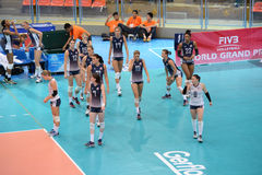 Volleyball WGP : Brazil VS USA. USA team at Volleyball world grand prix 2014, PRELIMINARY ROUND Pools Composition - POOL A-I (August 1-24, 2014 Royalty Free Stock Photos