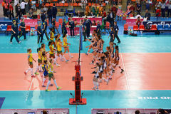 Volleyball WGP : Brazil VS USA. Brazil and USA team at Volleyball world grand prix 2014, PRELIMINARY ROUND Pools Composition - POOL A-I (August 1-24, 2014 Royalty Free Stock Photo