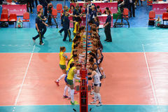 Volleyball WGP : Brazil VS USA. Brazil and USA team at Volleyball world grand prix 2014, PRELIMINARY ROUND Pools Composition - POOL A-I (August 1-24, 2014 Royalty Free Stock Image