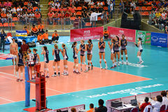 Volleyball WGP : Brazil VS USA. USA team at Volleyball world grand prix 2014, PRELIMINARY ROUND Pools Composition - POOL A-I (August 1-24, 2014 Royalty Free Stock Photo