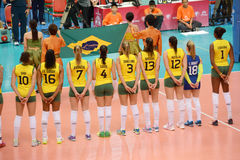 Volleyball WGP : Brazil VS USA. Brazil team at Volleyball world grand prix 2014, PRELIMINARY ROUND Pools Composition - POOL A-I (August 1-24, 2014 Stock Photos