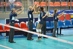 Volleyball WGP : Brazil VS USA. USA team at Volleyball world grand prix 2014, PRELIMINARY ROUND Pools Composition - POOL A-I (August 1-24, 2014 Stock Photo