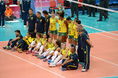 Volleyball WGP : Brazil VS USA. Brazil team at Volleyball world grand prix 2014, PRELIMINARY ROUND Pools Composition - POOL A-I (August 1-24, 2014 Stock Image