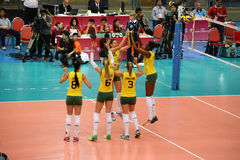Volleyball WGP : Brazil VS USA. Brazil team at Volleyball world grand prix 2014, PRELIMINARY ROUND Pools Composition - POOL A-I (August 1-24, 2014 Stock Photography