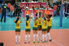 Volleyball WGP : Brazil VS USA. Brazil team at Volleyball world grand prix 2014, PRELIMINARY ROUND Pools Composition - POOL A-I (August 1-24, 2014 Royalty Free Stock Photos