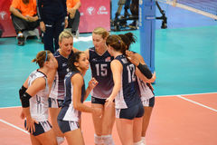 Volleyball WGP : Brazil VS USA. USA Team at Volleyball world grand prix 2014, PRELIMINARY ROUND Pools Composition - POOL A-I (August 1-24, 2014 Stock Image