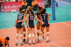 Volleyball WGP : Brazil VS USA. USA Team at Volleyball world grand prix 2014, PRELIMINARY ROUND Pools Composition - POOL A-I (August 1-24, 2014 Stock Images