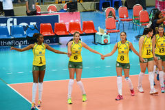 Volleyball WGP : Brazil VS USA. Brazil team at Volleyball world grand prix 2014, PRELIMINARY ROUND Pools Composition - POOL A-I (August 1-24, 2014 Royalty Free Stock Photo