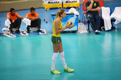 Volleyball WGP : Brazil VS USA. Thaisa Menezes, Brazil Team at Volleyball world grand prix 2014, PRELIMINARY ROUND Pools Composition - POOL A-I (August 1-24 Royalty Free Stock Photography