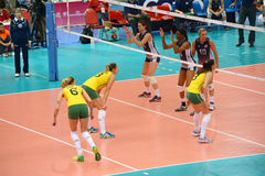Volleyball WGP : Brazil VS USA. Brazil VS USA at Volleyball world grand prix 2014, PRELIMINARY ROUND Pools Composition - POOL A-I (August 1-24, 2014 Royalty Free Stock Photography