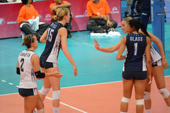Volleyball WGP: Brazilië VERSUS de V.S. Royalty-vrije Stock Foto's