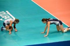 Volleyball WGP: Brazilië VERSUS de V.S. Stock Foto's
