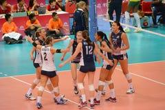 Volleyball WGP: Brazilië VERSUS de V.S. Stock Afbeelding