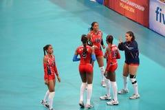 Volleyball WGP: Dominicaan VERSUS Thailand Royalty-vrije Stock Afbeelding