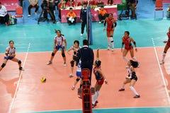 Volleyball WGP: Dominicaan VERSUS Thailand Stock Foto's