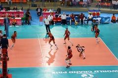 Volleyball WGP: Dominicaan VERSUS Thailand Royalty-vrije Stock Fotografie