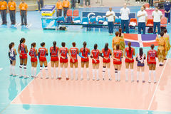 Volleyball WGP. Dominican Republic Team at Volleyball world grand prix 2014, PRELIMINARY ROUND Pools Composition - POOL A-I (August 1-24, 2014 Royalty Free Stock Images