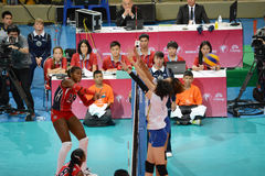 Volleyball WGP. Dominican VS Thai fighting at Volleyball world grand prix 2014, PRELIMINARY ROUND Pools Composition - POOL A-I (August 1-24, 2014 Stock Photography