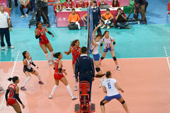 Volleyball WGP. Dominican VS Thai fighting at Volleyball world grand prix 2014, PRELIMINARY ROUND Pools Composition - POOL A-I (August 1-24, 2014 Royalty Free Stock Image