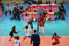 Volleyball WGP. Dominican VS Thai fighting at Volleyball world grand prix 2014, PRELIMINARY ROUND Pools Composition - POOL A-I (August 1-24, 2014 Stock Photos