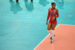 Volleyball WGP : Dominican VS Thailand. Ana Yorkira Binet Stephens, Dominican team at Volleyball world grand prix 2014, PRELIMINARY ROUND Pools Composition Royalty Free Stock Photo