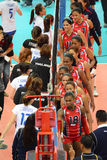 Volleyball WGP : Dominican VS Thailand. Check hand at Volleyball world grand prix 2014, PRELIMINARY ROUND Pools Composition - POOL A-I (August 1-24, 2014 Royalty Free Stock Photos