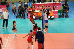 Volleyball WGP : Dominican VS Thailand. Fighting time at Volleyball world grand prix 2014, PRELIMINARY ROUND Pools Composition - POOL A-I (August 1-24, 2014 Stock Image