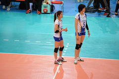 Volleyball WGP : Dominican VS Thailand. Pleumjit Thinkaow and Nootsara Tomkom, thai team at Volleyball world grand prix 2014, PRELIMINARY ROUND Pools Composition Stock Image
